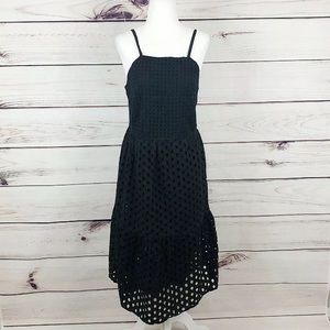 LOFT Black Eyelet Ruffle Sun Dress Halter Womens 6